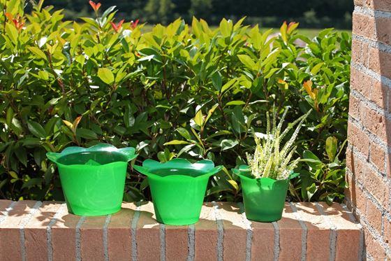 Immagine di Coprivaso DOLLY in plastica verde scuro per vaso di diam. 14 cm