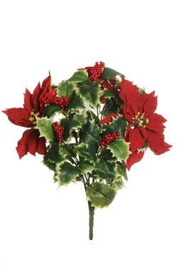 Picture of Bush stella natale con agrifoglio,  rosso, H47 cm