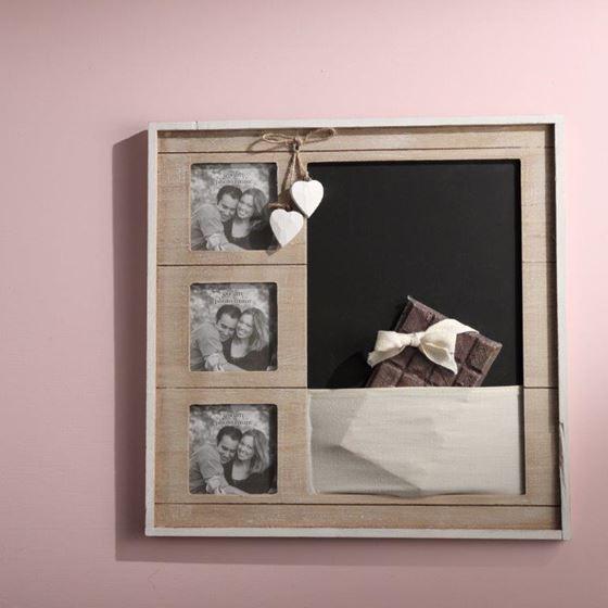 Picture of Lavagna/portafoto, legno, naturale, 38x38xH1.5cm
