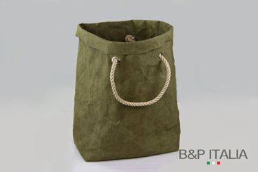 """Immagine di SACCA """"Elizabeth"""" fibra cellulosa Color, verde oliva, cm15x19xh.30"""