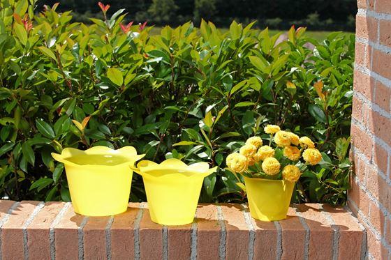 Immagine di Coprivaso DOLLY in plastica giallo per vaso di diam. 14 cm
