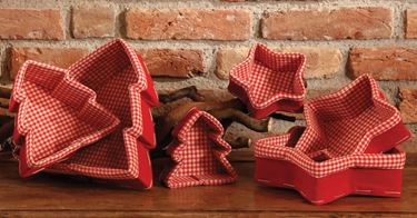 Immagine di Box/6 Contenitori stella e albero  in tessuto bianco/rosso