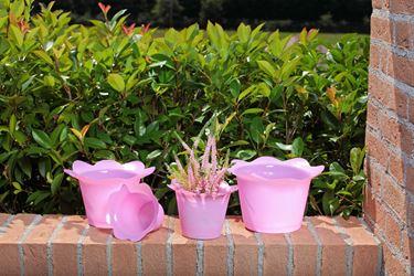 Immagine di Coprivaso DOLLY in plastica rosa per vaso di diam. 17 cm