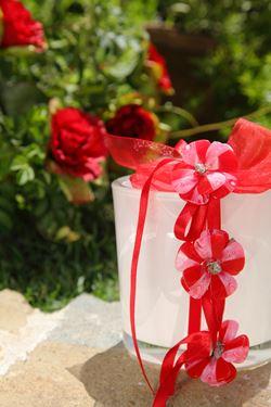 Immagine di Box 6 clip fiori rossi, h. cm 16
