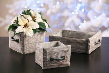 Immagine di Cassetto basso effetto legno, cemento,27.5x19xH9cm.
