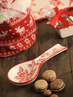 Immagine di Cucchiaio, ceramica,  crema/rosso, 24x9xH3cm