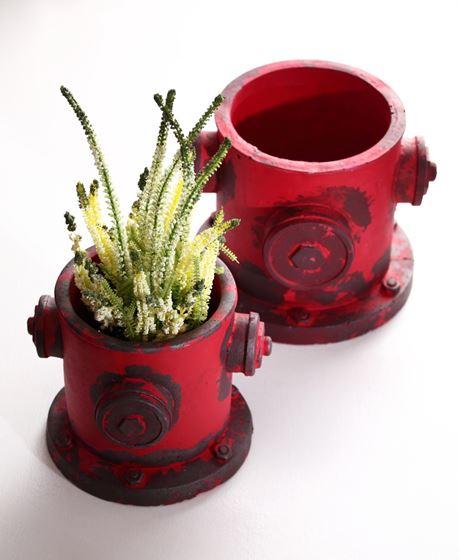 Immagine di Portavaso grande cilindrico,rosso, cemento,20.5x19xH16cm