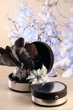 Picture of S/2 bauletti arrotondati argento/nero con chiusura 30x26x13  26x21x10