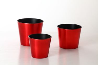 Picture of S/3 portavasi plastica,rosso, D17xH15;D15xH12;D12xH11cm