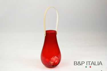 Picture of Lanterna porta-tealight in vetro rosso D14.5xH25cm.