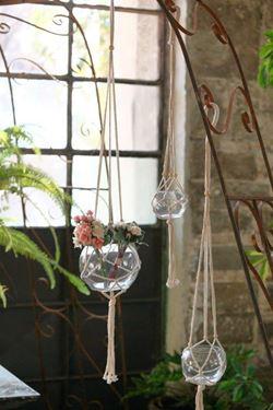 Picture of Sfera vetro con corde, d.8,8xh.9cm