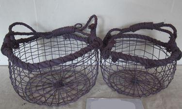 Picture of S/2 cesti tondi, viola, metallo/corda  D43-24xH22-42; D31-20xH18-31cm