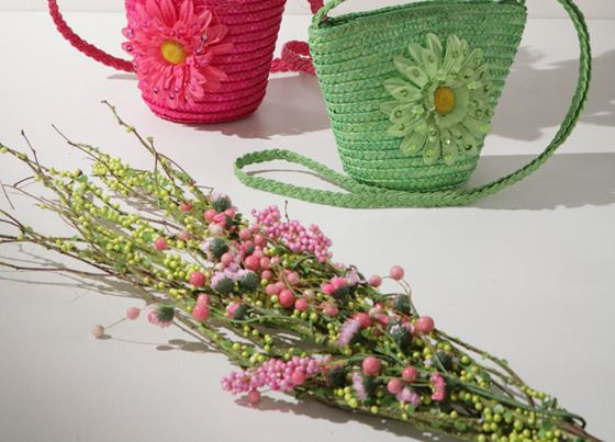 Picture of Ramo fiori verde/rosa, h. cm 85