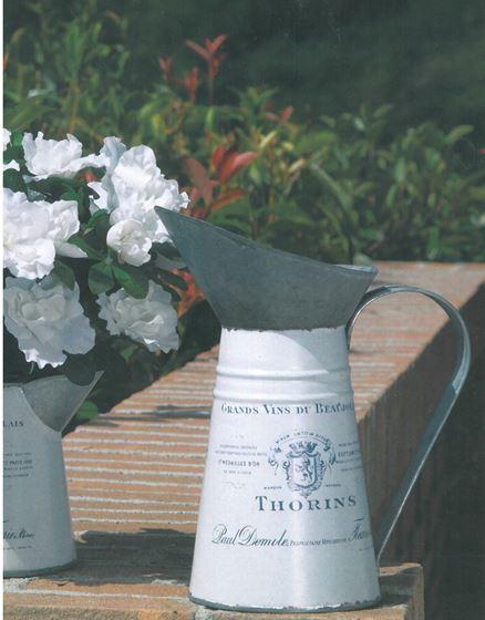 Immagine di Brocca in latta argento e bianca h.24.7 x diam. alto 7 cm