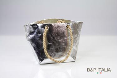 Picture of Borsa BSQ30 FIBRA SHINE argento retro bianco 18x24xh26,c/occ.e man