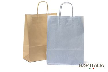 Picture of Shopper 22x10xh.29 90gr Kraft ARGENTO twisted
