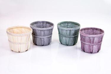 Immagine di Contenitori assortiti in 4 colori in legno, d16/20,5xh.17cm