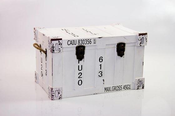 Picture of Baule container, mdf rivestito,bianco, 52x32xh.31cm