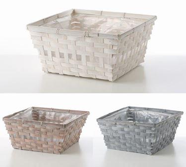 Immagine di Contenitori bamboo,col.ass.i, int.plastica, 30x30 - 23x23- h.15cm