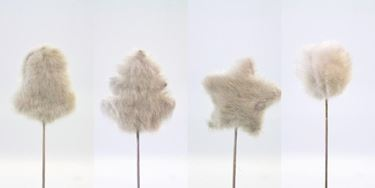 Picture of Assortimento 4 pick bianchi pelosi h.30cm (palla,stella,albero,campana)