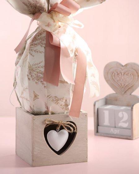 Immagine di Contenitore cuore, legno, naturale, 12x12xH14cm