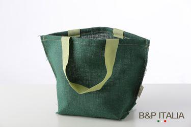 Immagine di Borsa juta verde scuro h.28,5x27x22, PPL interno,manico vintage