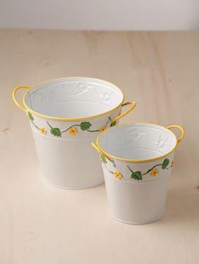 Picture of S/2 Portavasi latta tondi ghirlanda fiori diam.cm13xh.13, cm17xh.15