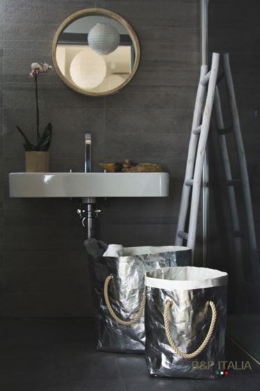 "Picture of SACCA ""Elisabeth"" cellulosa Shine, argento retro bianco, cm32x40xh.60"