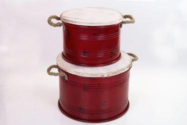 Immagine di S/2 contenitori, rosso, d.30xh.20cm + d.38xh.25cm