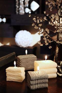 Immagine di Candela asciugamano piccolo,grigio, H5.5 cm