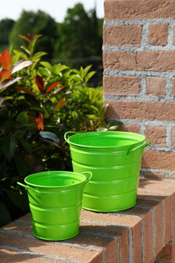 Picture of S/2 Vasi latta tondo verde,  h. cm 18,5x15,5 e h. cm 12,5x11,5