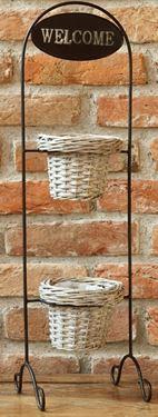Immagine di Coprivasi in vimini con alzata in ferro cm68x20x20, interno in plastica