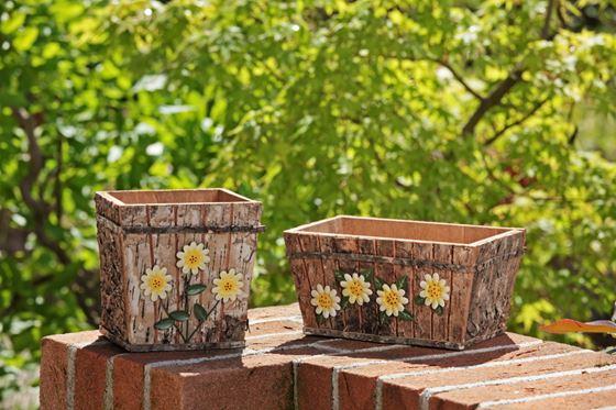 Immagine di Contenitore 3 fiori in legno e corteccia 14.5x13xh14, nylon interno
