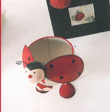 Picture of S/3 Contenitori coccinelle rosse in metallo cm12xh20,9.5xh16.5,7xh11.5