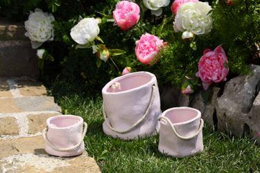 Immagine di Vaso ceram.SACCO piccolo con manico rosa, 11x11xH10cm.
