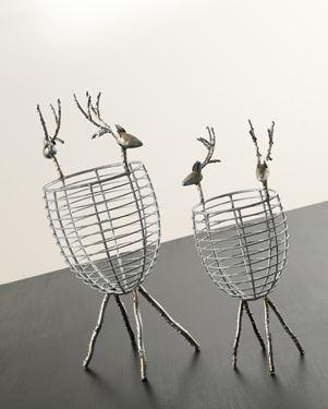 Immagine di Contenitore in rete di metallo argento con renne h.35