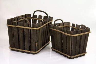 Immagine di S/2 Contenitenitori rettangolari legno,c/m30.5x22xh21cm, 39.5x29.5xh25