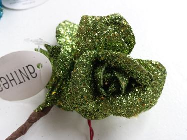 Picture of Pick rosa glitter verde,h.cm13