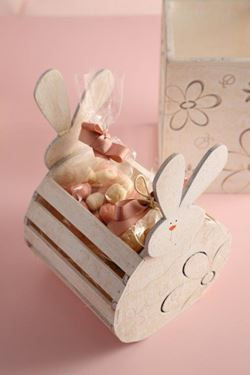 Picture of Portafiori rabbit,decori floreali, legno,16x16xH14/24cm