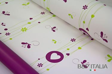 Picture of Bobina, Perlato,  h.cm100,FLOWER BUTTERFLY, verde/porpora