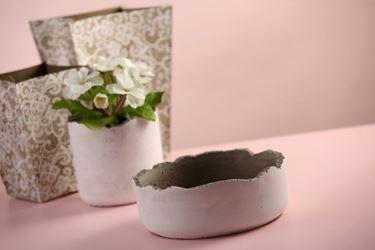 Immagine di Ciotola, tortora/bianco,  cemento, D22xH8cm