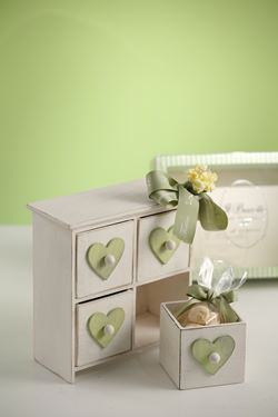 Immagine di Cassettiera 4 cassetti, legno,  bianco/verde, 19.5x10xH19cm