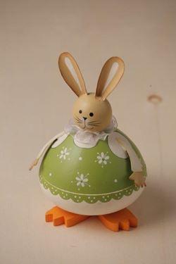 Picture of S/2 Box tondi rabbit in legno verde diam. cm9xh.15 e cm7xh.12