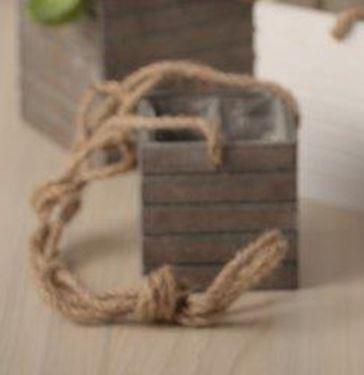 Picture of Vaso appeso grigio, legno, con ppl cm.11x11xh.12