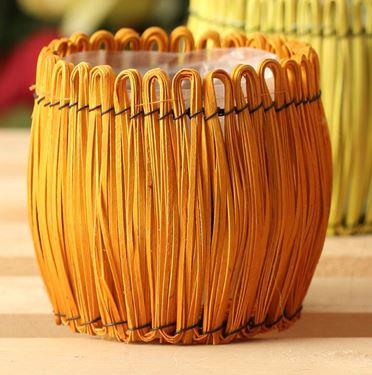 Immagine di Cesto tondo arancio, int.plastica,  D15xH15cm