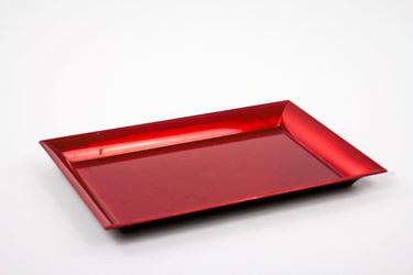 Immagine di Piatto rettangolare di plastica rosso 25x35xh.1.8