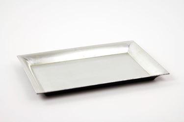 Immagine di Piatto rettangolare di plastica color argento 25x35xh.1.8