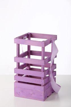 Picture of Lanterna legno lilla, 19x19xh.45cm senza manico