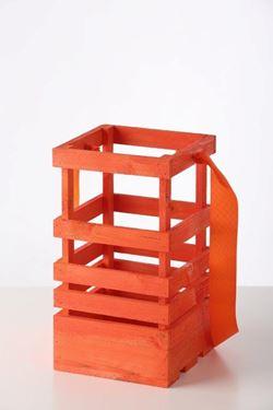 Picture of Lanterna legno arancio, 15x15xh.30cm senza manico