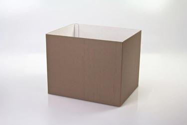 Picture of Cubo box cartone 17x17 tortora, steso, nastro a parte